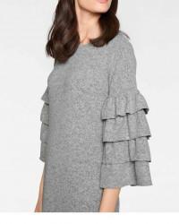 Pletené šaty s volánmi Rick Cardona, sivá #4