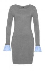Pletené šaty s volánmi Tom Tailor Polo Team, sivá