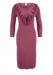 Pletené šaty s volánmy Heine, malinová