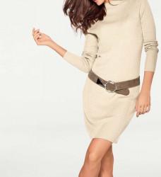 Pletené šaty z Merino vlny, krémová