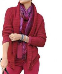 Pletený červený sveter ALBA MODA