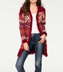 Pletený dlhý sveter, bordovo-červený