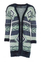 Pletený dlhý sveter, mätovo-modrý