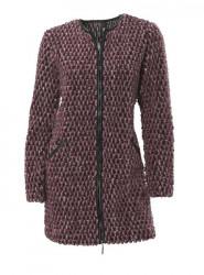 Pletený kabát, vínový