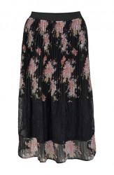 Plisovaná sukňa s čipkou Tamaris, čierna