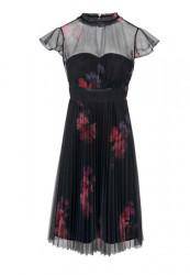 Plisované šaty Ashley Brooke, čierno-bordová