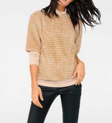 Plyšový sveter, béžový