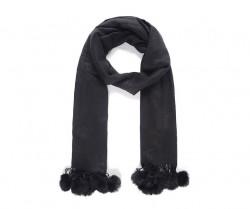 Pompons - zimný šál s brmbolcami, čierna