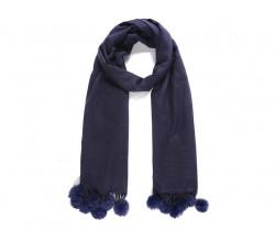 Pompons - zimný šál s brmbolcami, modrý