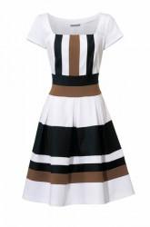 Princeznovské šaty, čierno-hnedo-biele