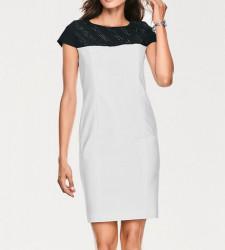 Príťažlivé púzdrové šaty Ashley Booke, krémovo-čierne