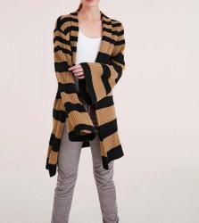 Pruhovaný dlhý sveter Heine, čierno-hnedá