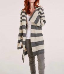 Pruhovaný dlhý sveter Heine, šedá-sivobiela