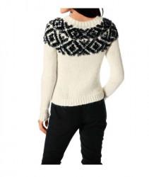 Pulover s nórskym vzorom, smotanovo-čierny #2