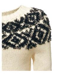 Pulover s nórskym vzorom, smotanovo-čierny #4