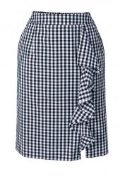 Púzdová sukňa s volánom, modro-biela