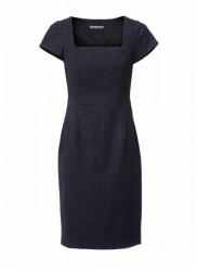 Púzdrové šaty s teloformujúcou spodničkou modro-koňakové