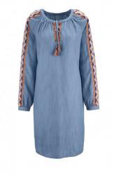 Rifľové šaty s výšivkou Heine, svetlo-modrá