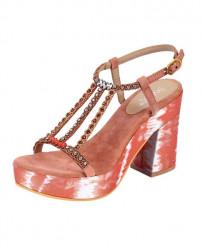 Sandále so štrasom xyxyx, koralové