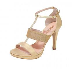 Sandálky béžovo-zlaté Heine