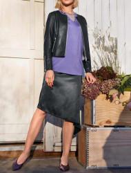Saténová sukňa s asymetrickým lemom Heine, čierna