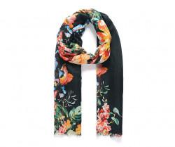 Šatka s kvetinovým vzorom, čierna