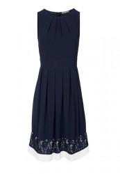 Šaty s čipkou Ashley Brooke, modro-krémové