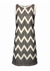 Šaty s kontrastnými flitrami, krémovo-cierne