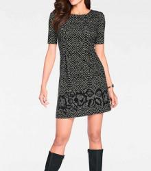Šaty s kvetinovým vzorom, čierno-krémové