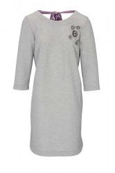 Šaty s mašľou Rick Cardona, strieborno-sivá