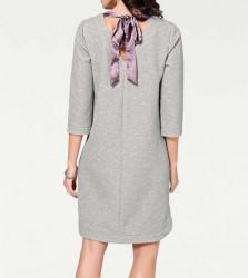 Šaty s mašľou Rick Cardona, strieborno-sivá #3
