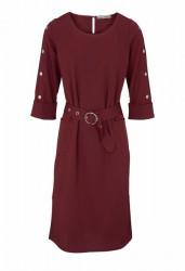 Šaty s ozdobnými gombíkmi Ashley Brooke, bordová