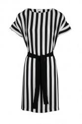 Šaty s pásikom a opaskom HEINE, čiero-biela