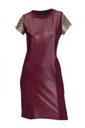 Šaty s trblietavými rukávmi bordó