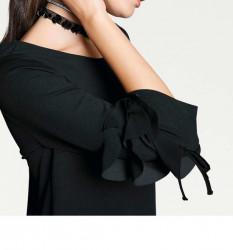 Šaty s volánikmi Rick Cardona, čierna #4