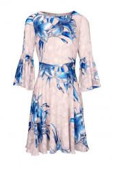 Šaty s volánom HEINE, krémovo-modrá