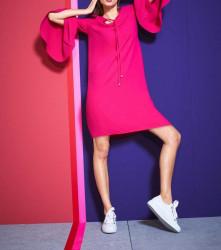 Šaty volánovými rukávmi v 3/4 dĺžke, ružová #4