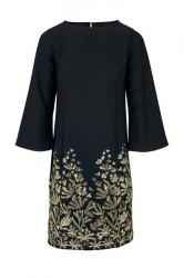 Šaty vyšivané flitrami Heine, čierno-zlatá