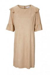 Šaty z imitácie kože s volánmi, pieskové