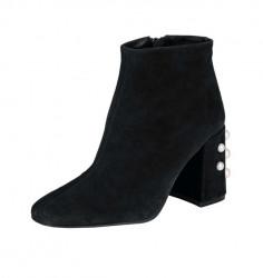 Semišové členkové topánky s perlami, čierne