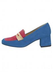 Semišové topánky HEINE, modro-ružová #1