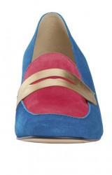 Semišové topánky HEINE, modro-ružová #4