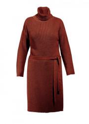 Sheego pletené šaty s opaskom, škoricové