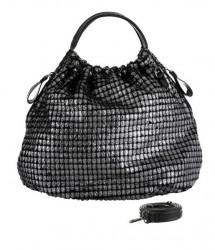Shopper kabelka, strieborno-čierna