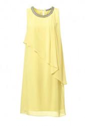 Šifónové vanilkové šaty so šperkom