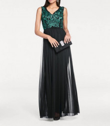 Šifónové vyšívané šaty, čierno-zelené