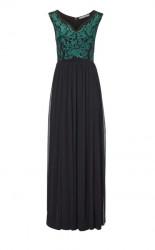 Šifónové vyšívané šaty, čierno-zelené #1