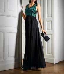 Šifónové vyšívané šaty, čierno-zelené #2