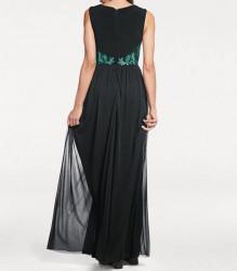 Šifónové vyšívané šaty, čierno-zelené #4