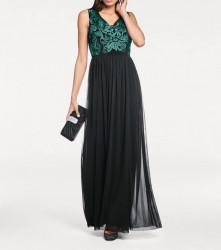 Šifónové vyšívané šaty, čierno-zelené #5
